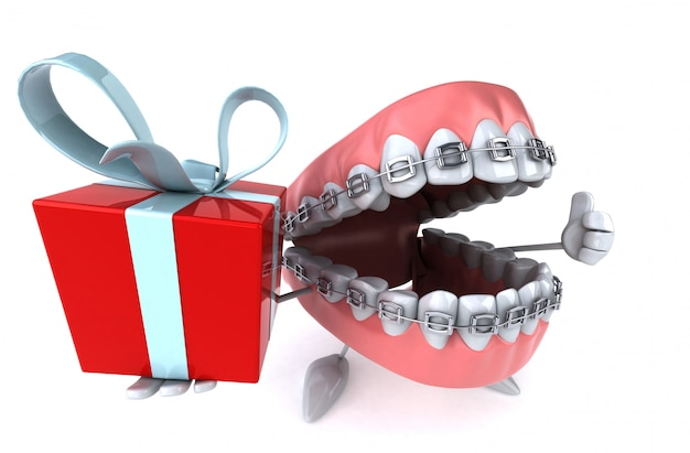 Fun teeth - 3d character Premium Photo