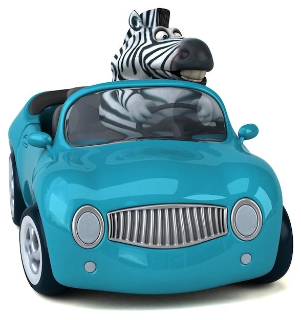 Fun zebra - 3d illustration Premium Photo