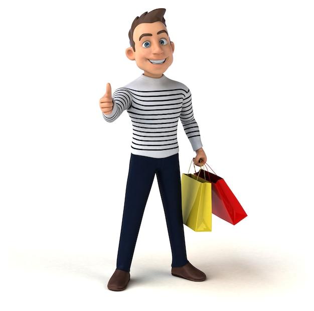 Funny 3d cartoon casual character Premium Photo
