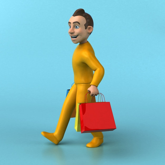 Funny 3d cartoon yellow character Premium Photo