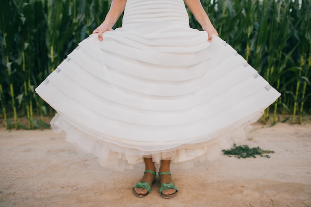 Premium Photo Funny Bride In White Wedding Dress Wearin Green Sandals And Standing On The Dusty Road,Wedding Dresses For Mens In Sri Lanka