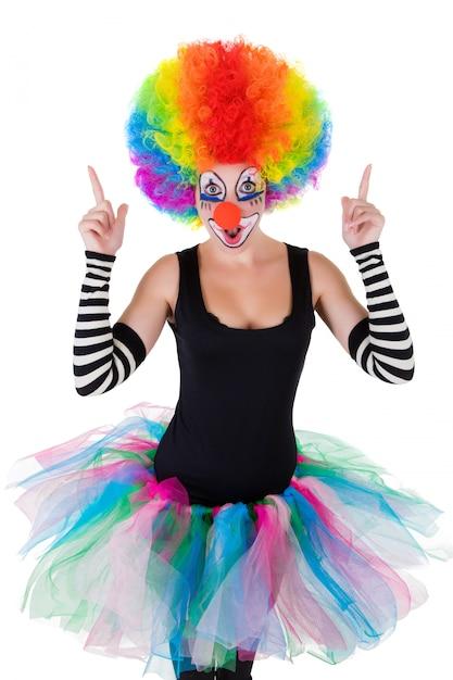 Funny clown isolated on white Premium Photo