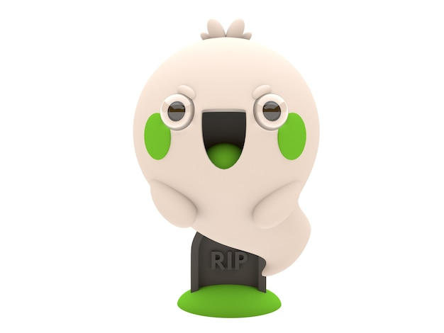Funny and cute 3d halloween ghost character in kawaii style Premium Photo