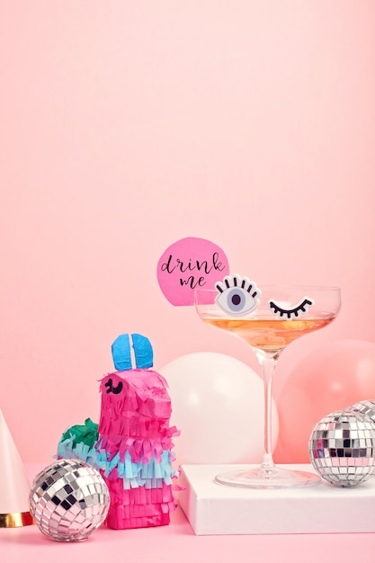 Funny cute cocktail glass with eyes Premium Photo