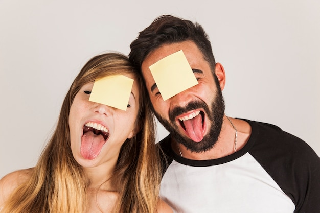 Funny friends with post its on head Free Photo