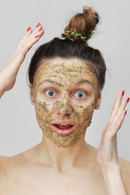 Funny girl portrait. skin care Premium Photo