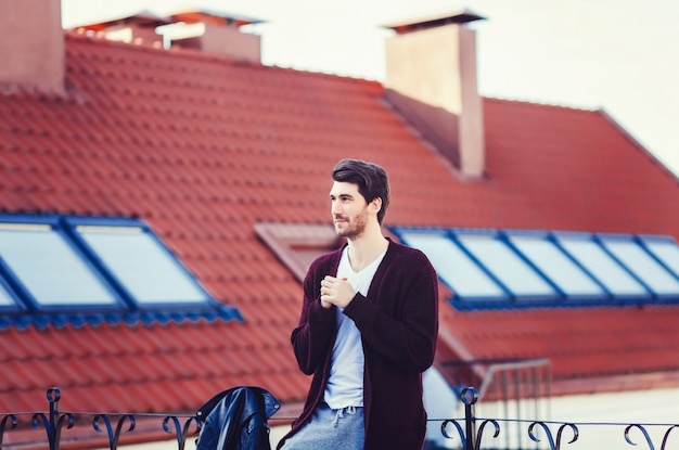 Funny hipster handsome man Premium Photo