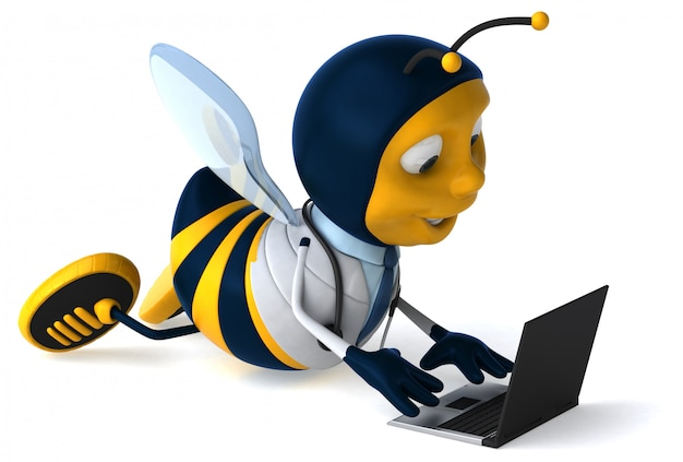 Premium Photo Funny Illustrated Bee Dressed As A Doctor With A Laptop