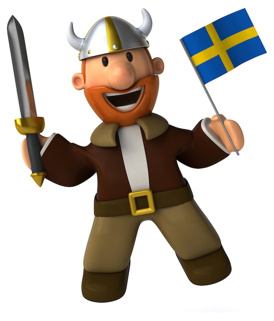 Funny illustrated viking holding a flag Premium Photo