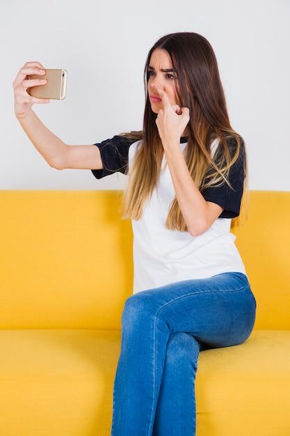 Funny nose selfie Premium Photo