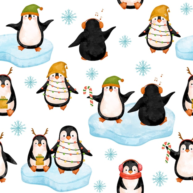 Funny penguins digital paper, christmas penguins in hats pattern. Premium Photo