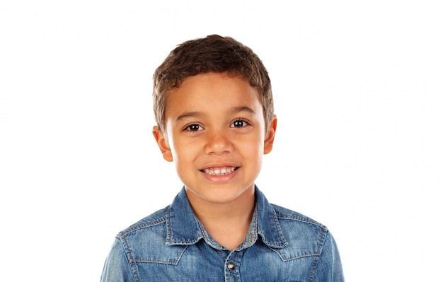 Funny small child with dark hair and black eyes Premium Photo