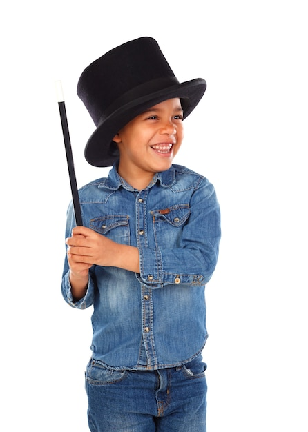 Funny small magician  with a top hat and a magic wand Premium Photo