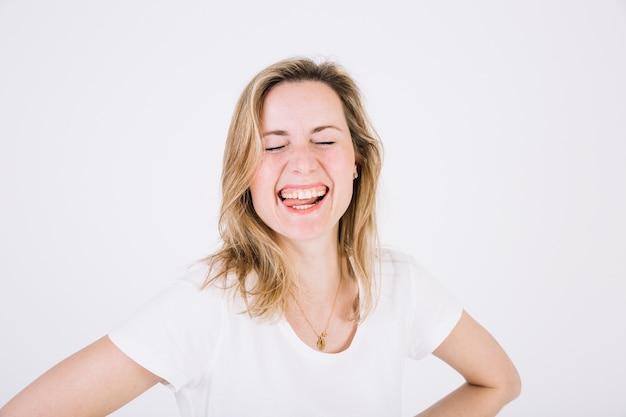 Funny woman on white Free Photo