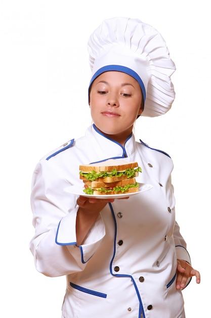 Funy шеф-повар женщина на белом Бесплатные Фотографии