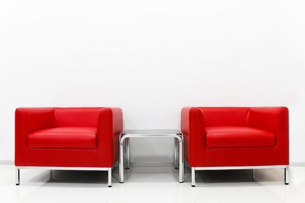 Awesome Furniture Set Red Sofa Is Located Next To The White Cement Bralicious Painted Fabric Chair Ideas Braliciousco