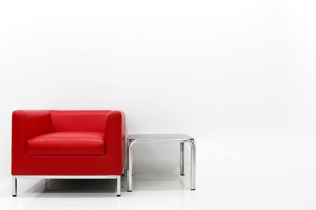 Remarkable Furniture Set Red Sofa Is Located Next To The White Cement Bralicious Painted Fabric Chair Ideas Braliciousco