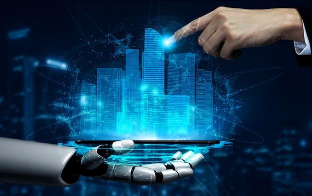 Future artificial intelligence robot and cyborg. Premium Photo
