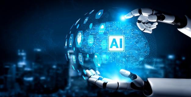 Future artificial intelligence robot and cyborg Premium Photo
