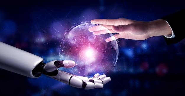 Future artificial intelligence robot and cyborg. Premium Photo