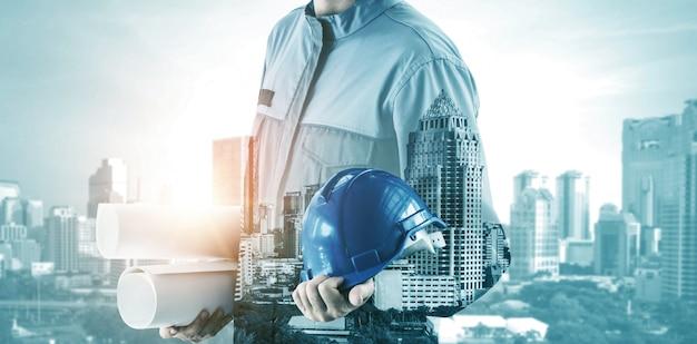 미래의 건물 건설 엔지니어링 프로젝트. 프리미엄 사진