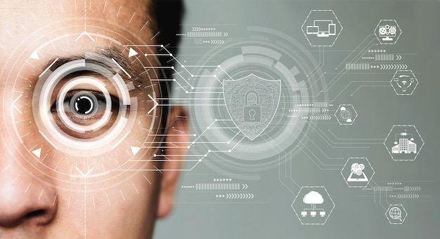 Future security data by biometrics eye scanning. Premium Photo