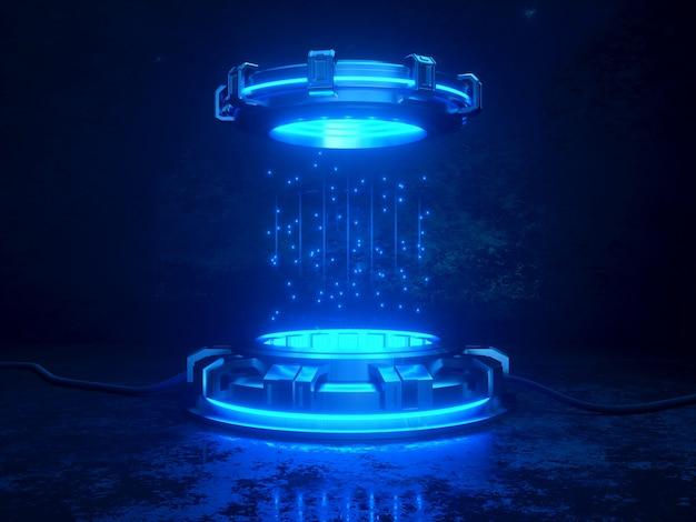 未来的な3dレンダリングモックアップ。宇宙テーマイラスト。輝くネオンライトを備えたサイバープラットフォームとケーブル。 Premium写真