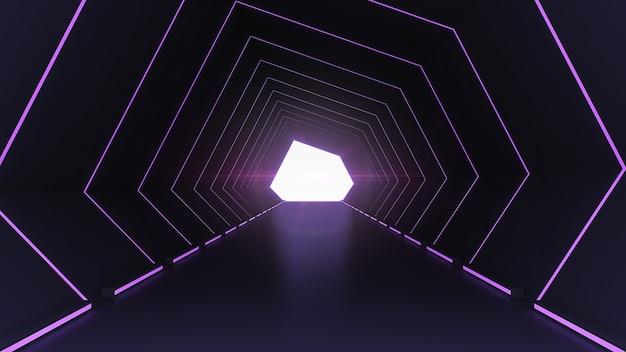 Футуристическая архитектура научно-фантастического коридора и коридора, интерьер туннеля с фоном неоновых огней Premium Фотографии
