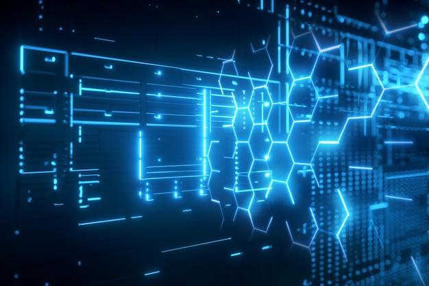 Futuristic background glowing blue neon hexagonal grid hologram Premium Photo