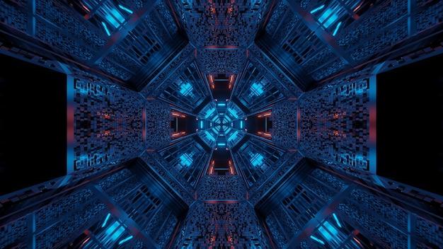 추상 보라색과 파란색 레이저 조명으로 미래의 배경 무료 사진