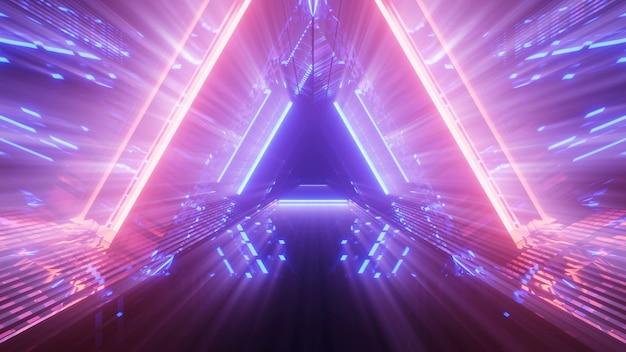 Sfondo futuristico con luci al neon astratte incandescente colorate Foto Gratuite