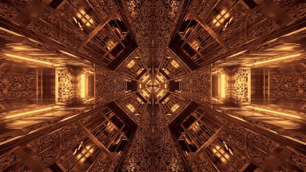 輝く抽象的なネオンの光のパターンと未来的な背景 無料写真