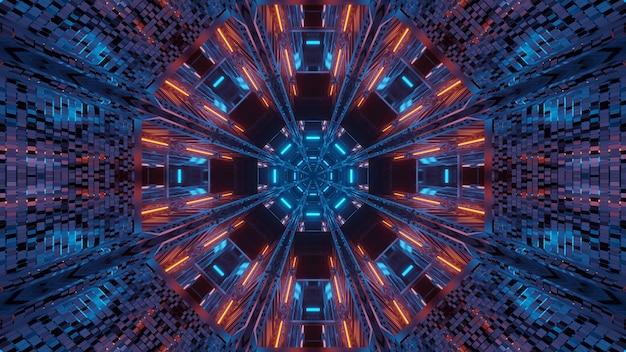 빛나는 추상 네온 빛으로 미래 배경 무료 사진