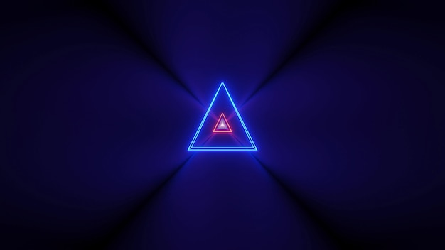 Futuristic background with glowing abstract neon lights and a triangle shape in the center Free Photo