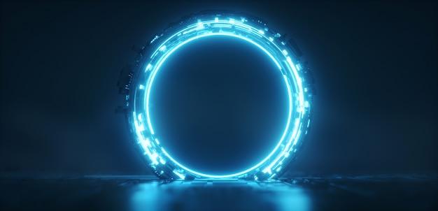 未来的な青い光るネオンラウンドポータル。サイエンスフィクションの背景。 Premium写真