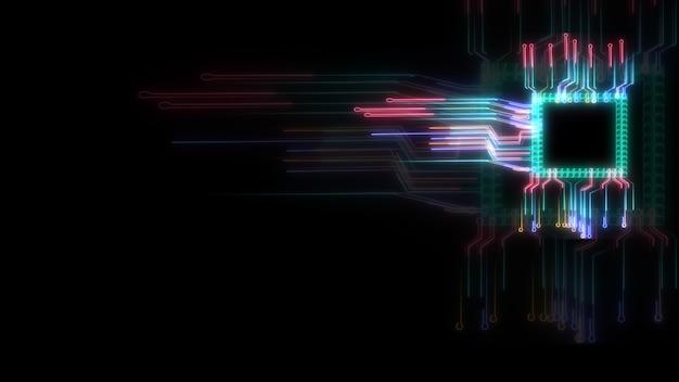 Футуристическая цифровая интеллектуальная технология обработки данных  микросхемы, полная мощность и энергия, а также схема микросхемы размытия и  пространство для копирования | Премиум Фото