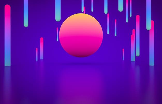 Futuristic geometric shape empty stage with glowing neon color. Premium Photo