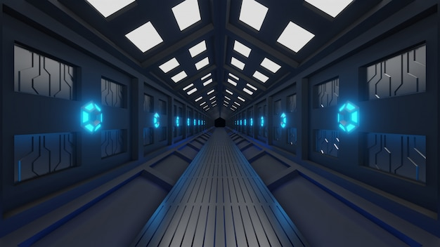 Futuristic hexagonal tunnel in spacecraft with spacewalk soft blue light, lamps on the walls of the corridor Premium Photo