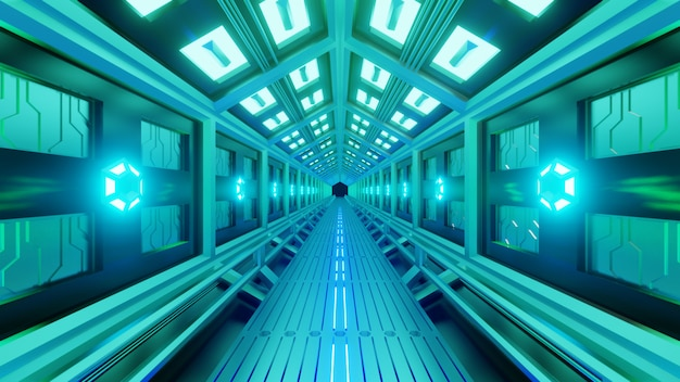 Futuristic hexagonal tunnel in a spacecraft with a spacewalk. soft green-blue light, lamps on the walls of the corridor. Premium Photo