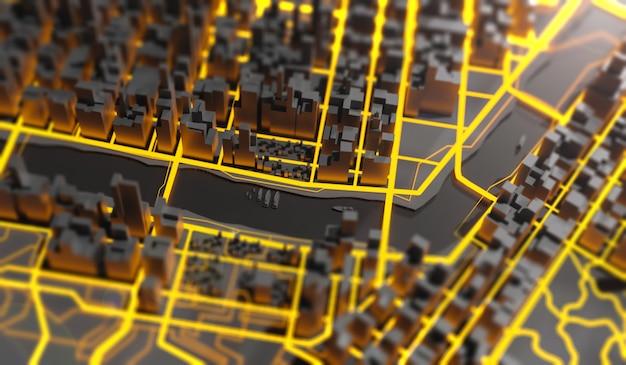 미래의 메가 도시 풍경 3d 그림 프리미엄 사진