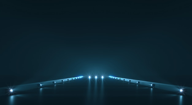 Futuristic pathway background with light illumination Premium Photo
