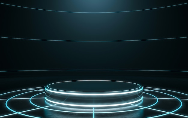 Futuristic pedestal for display. blank podium for product. 3d rendering Premium Photo