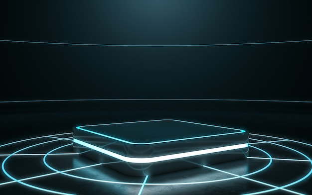 Futuristic pedestal for display, blank podium for product with light glow. 3d rendering Premium Photo