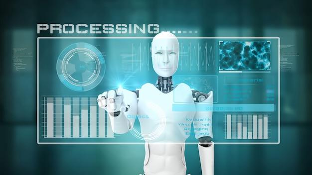 Futuristic robot, artificial intelligence cgi big data analytics and programming Premium Photo
