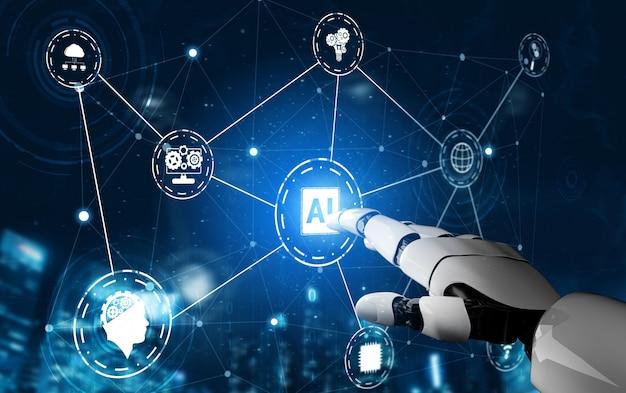 Futuristic robot artificial intelligence concept. Premium Photo