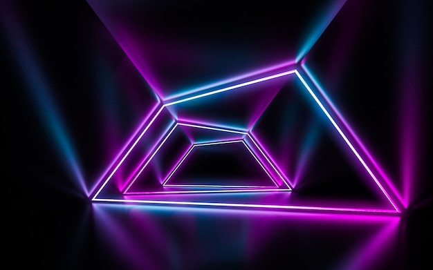 Futuristic sci fi blue and purple neon tube lights glowing with reflections empty space. Premium Photo