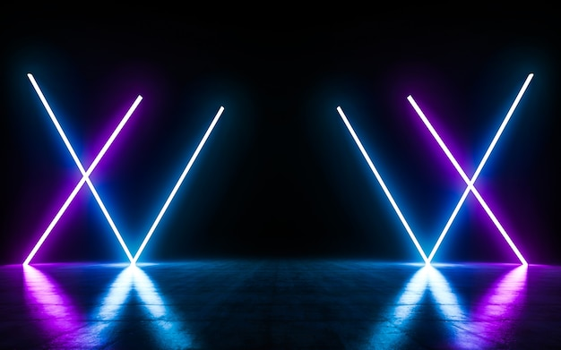 Futuristic sci fi blue and purple neon tube lights glowing with reflections empty space. Premium Pho