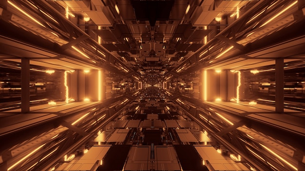 Futuristic sci-fi space tunnel passageway with glowing shiny lights Free Photo