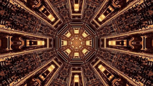 Corridoio tunnel pixelato rotondo fantascienza futuristico con luci marroni e dorate Foto Gratuite