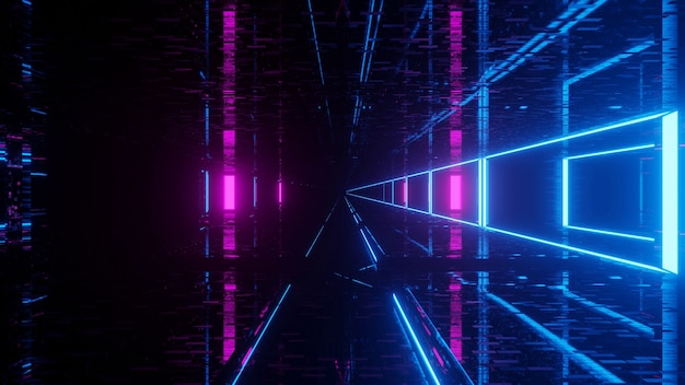 Futuristic science-fiction tunnel with glowing lights Premium Photo